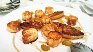 Foie con horchata y fartons