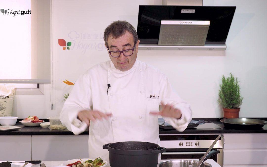 (Español) El Chef Pep Romany cocina un arroz meloso de sepia, conejo de corral y verduras de temporada